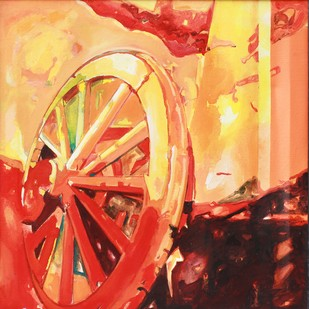 Wheel Of Time III by Anita Singh, Impressionism Painting, Acrylic on Canvas, Beige color