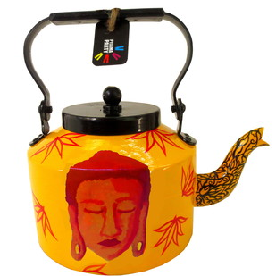 Limited Edition kettle- Shades of Buddha (Yellow and Crimson) Serveware By Pyjama Party Studio