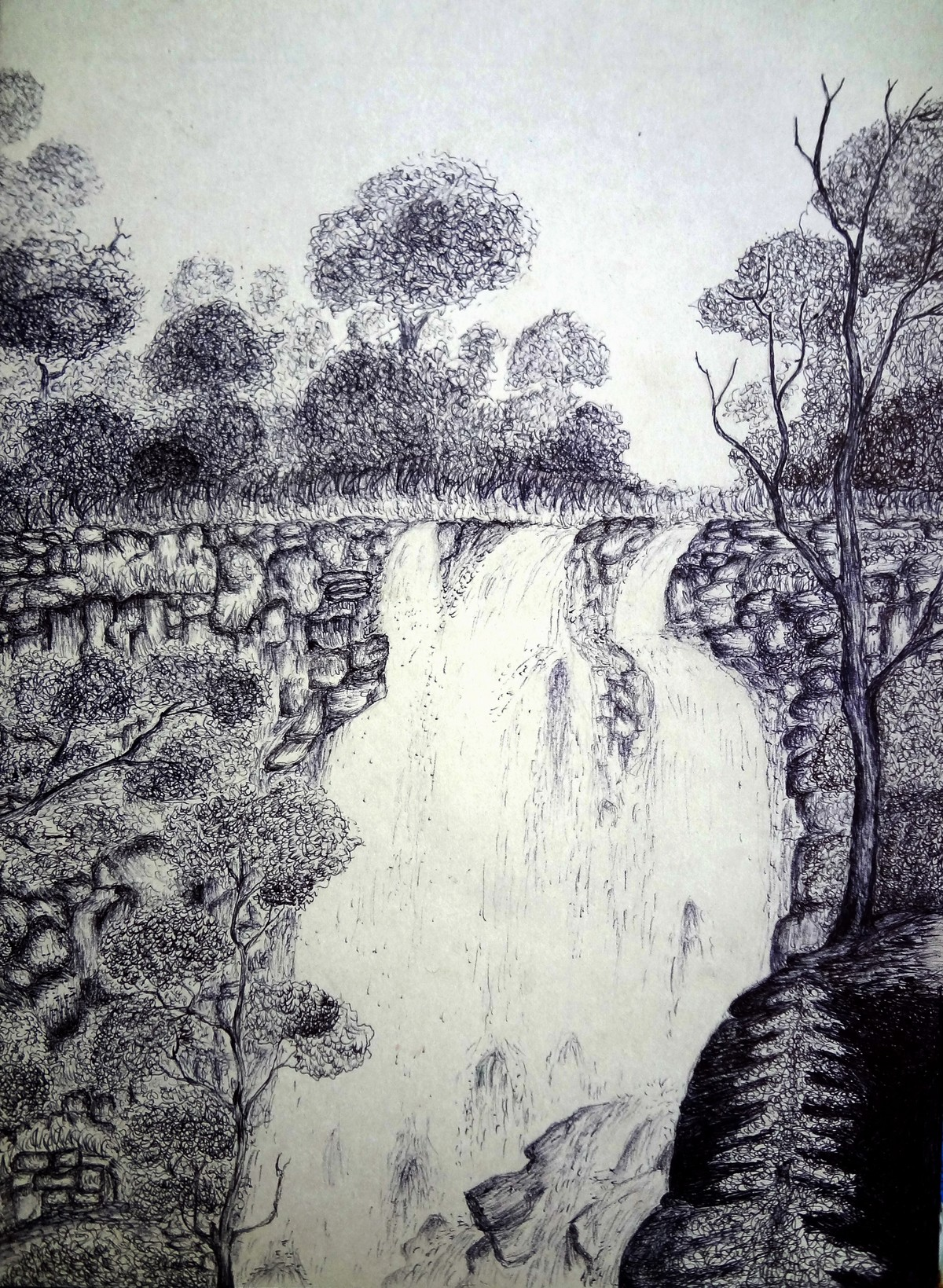Go Chasing Waterfalls by Vishwanath Bhat, Illustration Drawing, Pen on Paper, Gray color