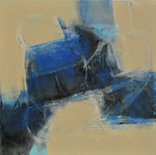 Untitled by Umesh Patil, Abstract Painting, Acrylic on Canvas, Beige color