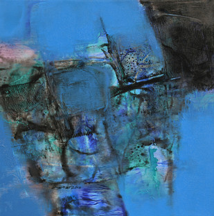 Untitled by Umesh Patil, Abstract Painting, Acrylic on Canvas, Blue color