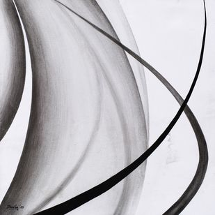Exhilaration by Deviba Wala, Abstract Painting, Acrylic on Canvas, Gray color