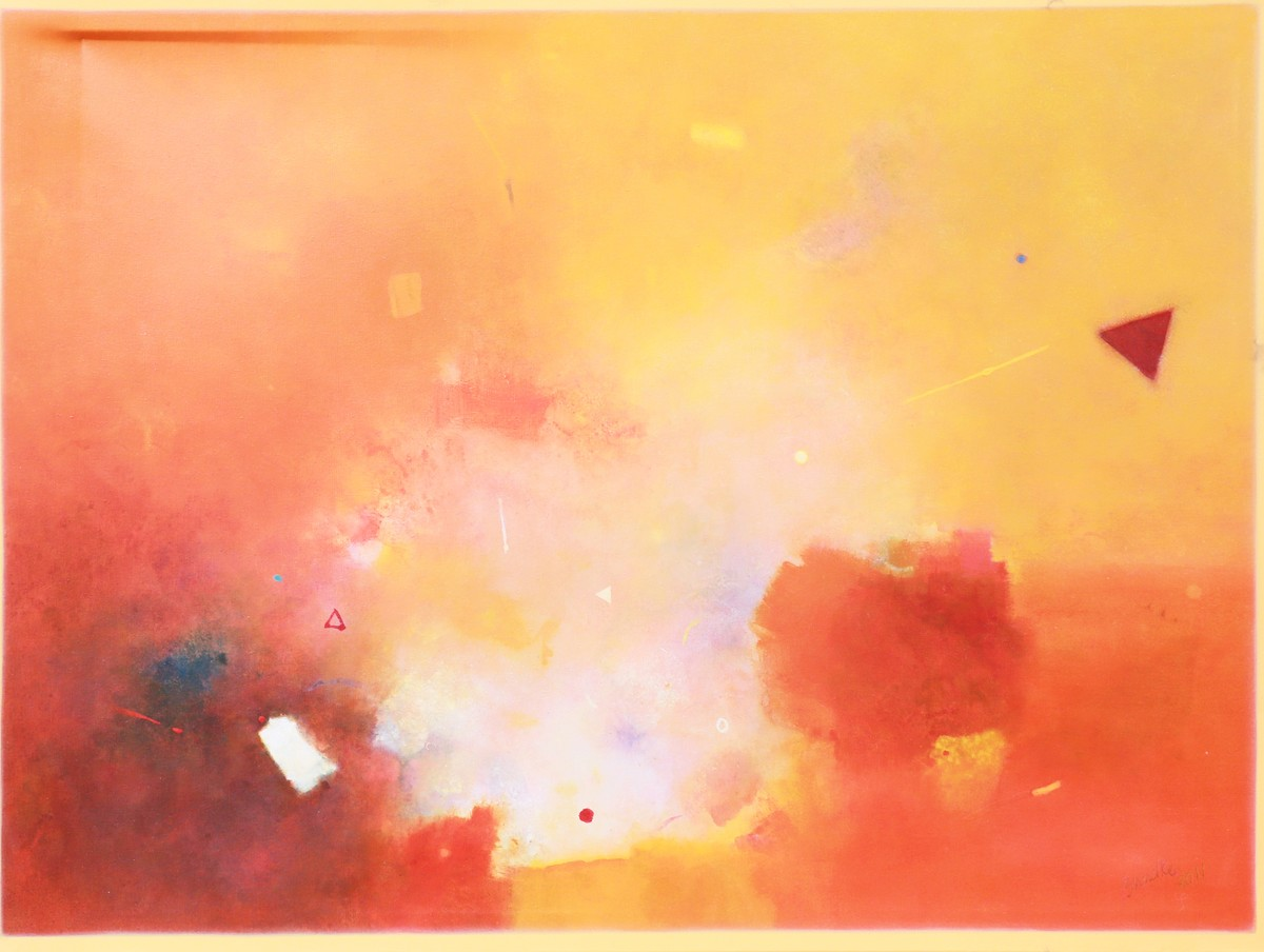 Evolving Phase 14 by Ganpat N Bhadke, Abstract Painting, Acrylic on Canvas, Beige color