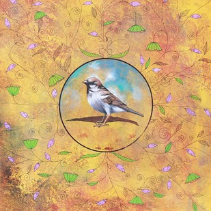 The Lost Of Sparrow by Gopal Samantray, Decorative Painting, Acrylic on Canvas, Beige color