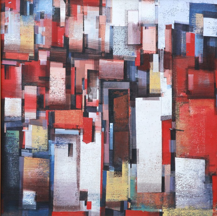 Holycity 60 by Kishor Chand, Geometrical Painting, Acrylic on Canvas, Brown color