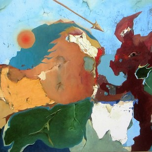 Good Vs Evil by Ashok Roy, Impressionism Painting, Mixed Media on Canvas, Brown color