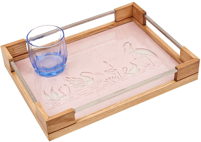 Sanjhi Stainless Steel Tray in Oakwood - Swans Serveware By Crafel