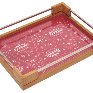 Sanjhi Stainless Steel Tray in Oakwood - Lotus Pink Serveware By Crafel