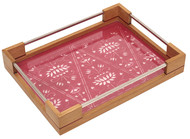 Sanjhi Stainless Steel Tray in Oakwood - Lotus Pink Serveware By Crafel