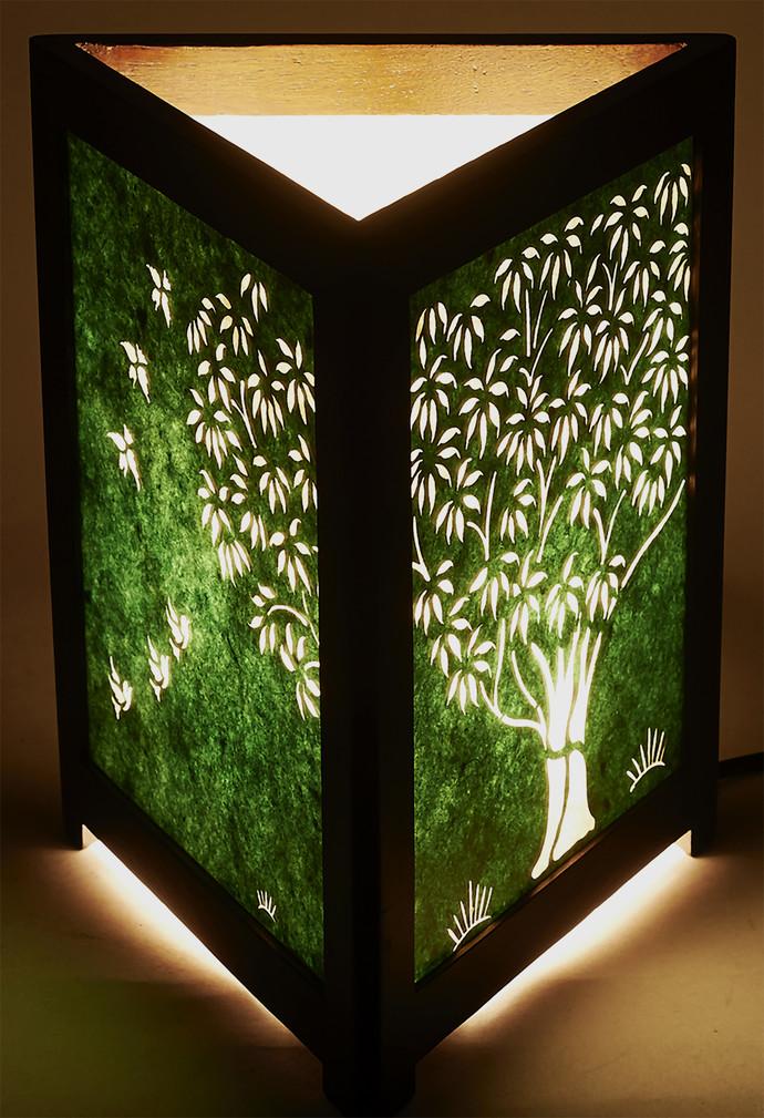 Sanjhi Story Lamp In Teakwood Tree Of Life Green