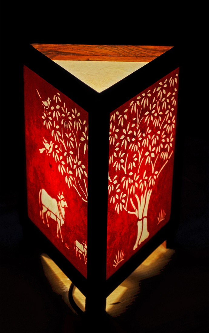 Sanjhi Story Lamp in Teakwood - Tree of Life - Red Silk Table Lamp By Crafel
