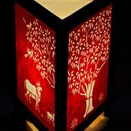 1 wooden sanjhi lamp three side red