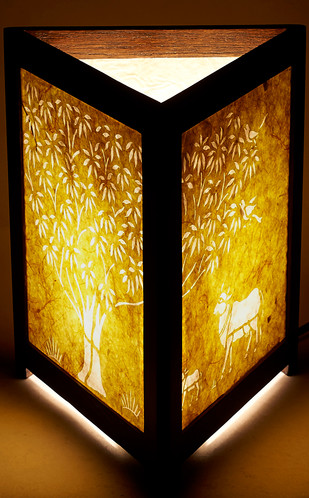 Sanjhi Story Lamp in Teakwood - Tree of Life - Bananna Fiber Table Lamp By Crafel