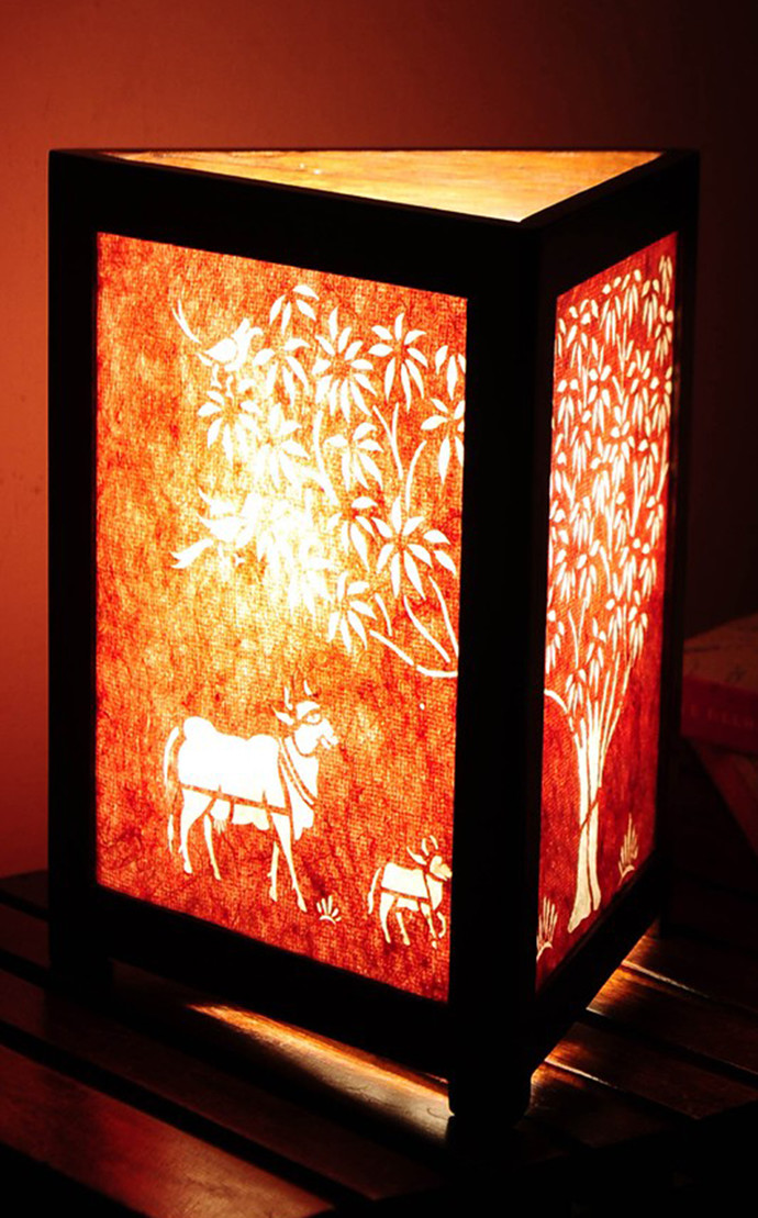 Sanjhi Story Lamp in Teakwood - Tree of Life - Red Long Silk Table Lamp By Crafel