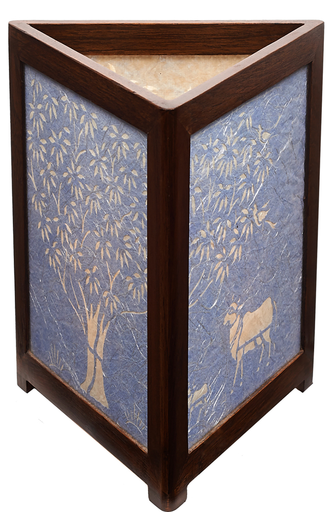 Sanjhi Story Lamp in Teakwood - Tree of Life - Blue Long Silk Table Lamp By Crafel