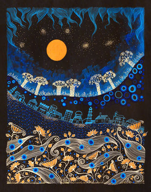 Indigo Landscape by Pragati Sharma Mohanty, Fantasy Painting, Mixed Media on Paper, Blue color