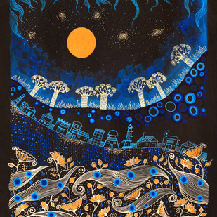 Indigo Landscape by Pragati Sharma Mohanty, Fantasy Painting, Mixed Media on Paper, Blue color