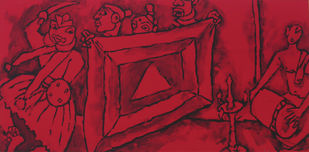 Folklore Kerala - II by M F Husain, Expressionism Serigraph, Serigraph on Paper, Red color