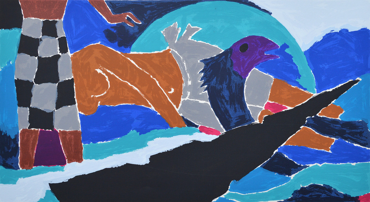 Folklore Kerala - III by M F Husain, Expressionism Serigraph, Serigraph on Paper, Blue color