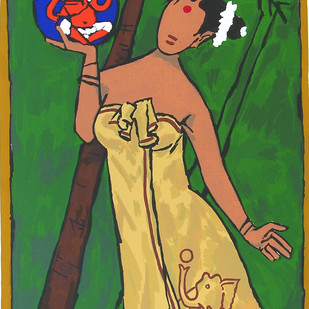 Folklore Kerala - IV by M F Husain, Expressionism Serigraph, Serigraph on Paper, Green color
