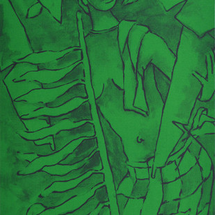 Folklore Kerala - VII by M F Husain, Expressionism Serigraph, Serigraph on Paper, Green color