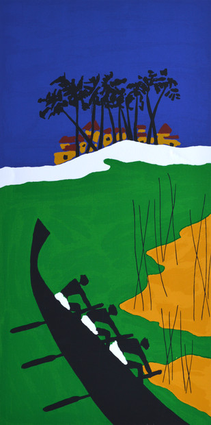 Folklore Kerala - VIII by M F Husain, Expressionism Serigraph, Serigraph on Paper, Green color
