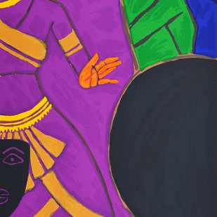 Folklore Kerala - IX by M F Husain, Expressionism Serigraph, Serigraph on Paper, Purple color