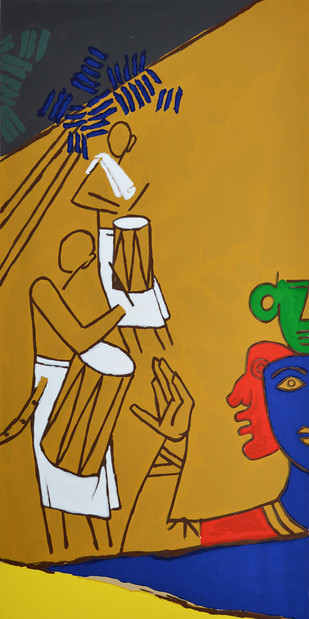 Folklore Kerala - X by M F Husain, Expressionism Serigraph, Serigraph on Paper, Brown color