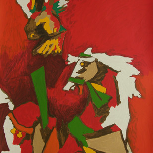 Horse (Appropriation) by M F Husain, Expressionism Serigraph, Serigraph on Paper, Brown color