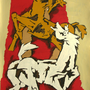 Horse by M F Husain, Expressionism Serigraph, Serigraph on Paper, Brown color