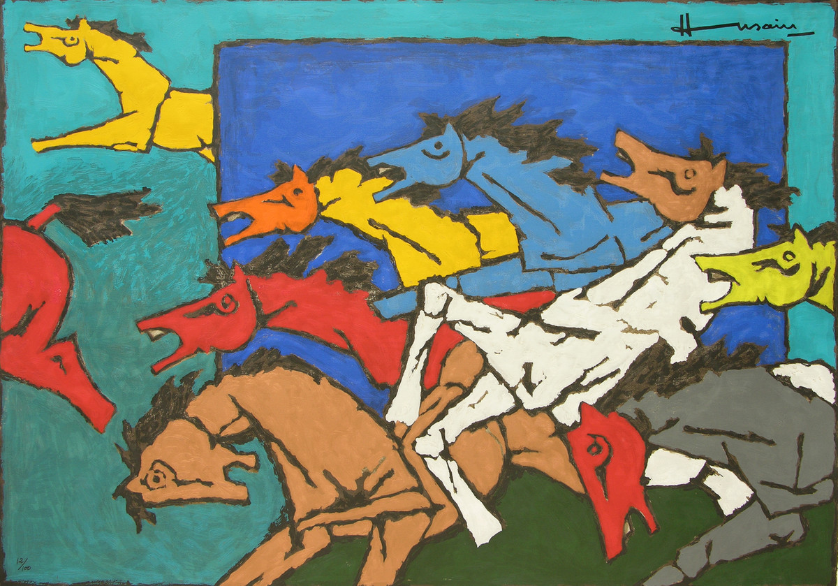 Horses (Appropriation) by M F Husain, Expressionism Serigraph, Serigraph on Paper, Green color
