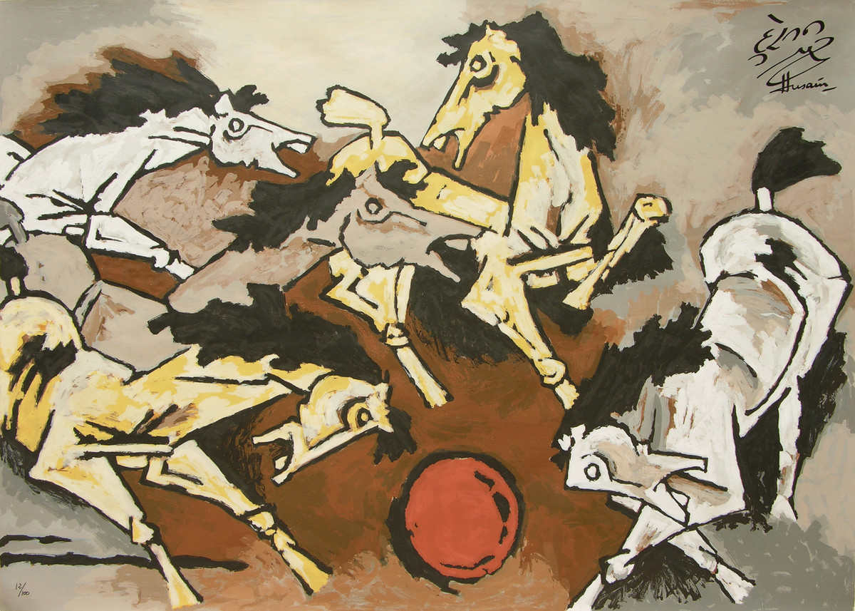 Horses by M F Husain, Expressionism Serigraph, Serigraph on Paper, Beige color