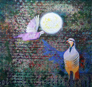 Chakor Loves Chand by Sujiet Poddar, Decorative Painting, Mixed Media on Canvas, Green color