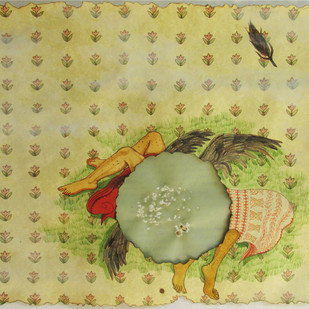 Made For Each Other by Ekta Singha, Decorative Painting, Mixed Media on Paper, Beige color
