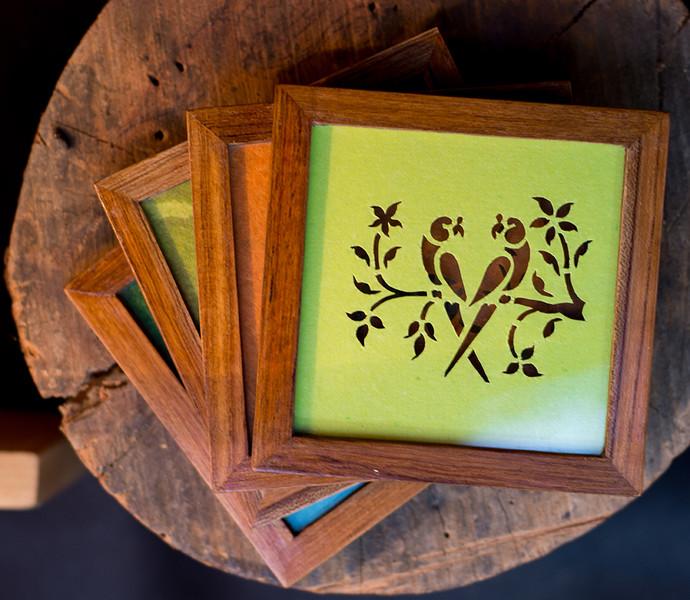 Sanjhi Coasters In Teakwood Parrot Neon Green Table