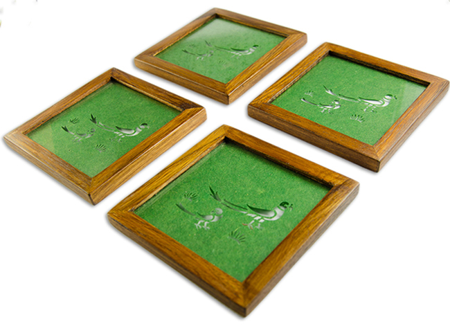 Sanjhi Coasters in Teakwood - Parrot Dark Green Table Ware By Crafel