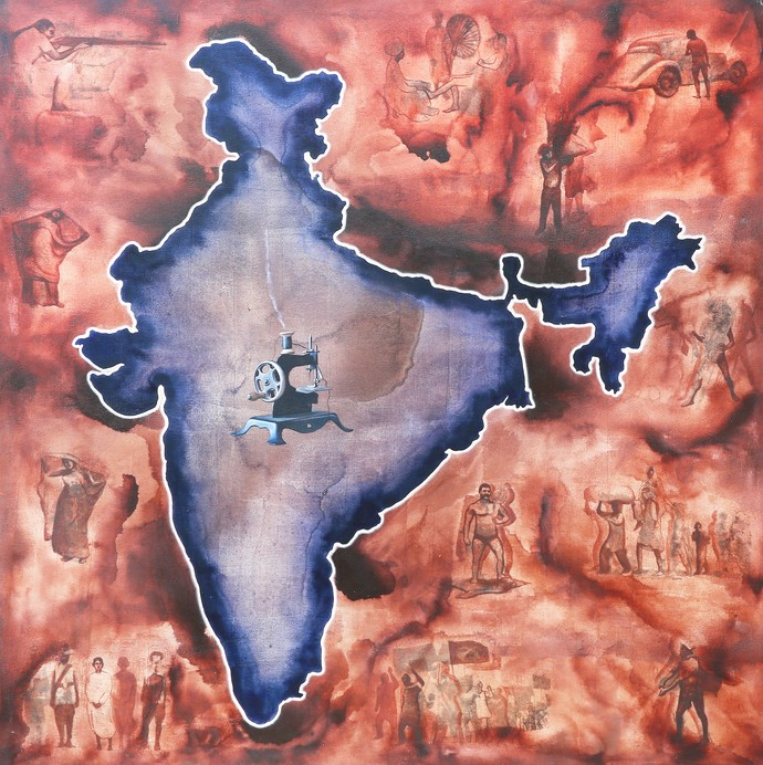 Where's The Chaos 4 by Rahul Mukherjee , Pop Art Painting, Acrylic on Canvas, Brown color