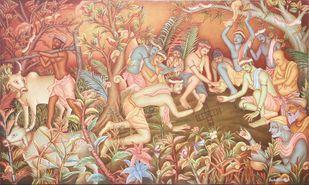 Pakita Play by Sadaanandan, Decorative Painting, Mixed Media on Canvas, Beige color