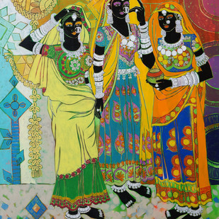 Ethnic Serendipity 17 by Anuradha Thakur, Traditional Painting, Acrylic & Ink on Canvas, Green color