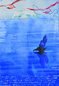 Jonathan Livingston 1 by Kanika Mondal, Impressionism Painting, Mixed Media on Paper, Blue color