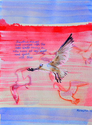 Jonathan Livingston 2 by Kanika Mondal, Impressionism Painting, Mixed Media on Paper, Pink color