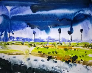 Small River by Santosh Keshari , Impressionism Painting, Watercolor on Paper, Blue color