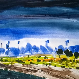 The Way by Santosh Keshari , Impressionism Painting, Watercolor on Paper, Blue color