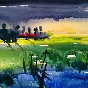 Small Village by Santosh Keshari , Impressionism Painting, Watercolor on Paper, Blue color