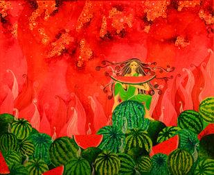 Watermelon Fairy Digital Print by Pragati Sharma Mohanty,Fantasy