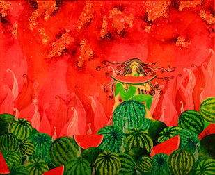 Watermelon Fairy by Pragati Sharma Mohanty, Fantasy Painting, Acrylic & Ink on Canvas, Red color