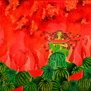Watermelon Fairy Digital Print by Pragati Sharma Mohanty,Fantasy