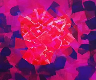 City Life by Shivani Garg , Abstract Painting, Acrylic on Canvas, Purple color