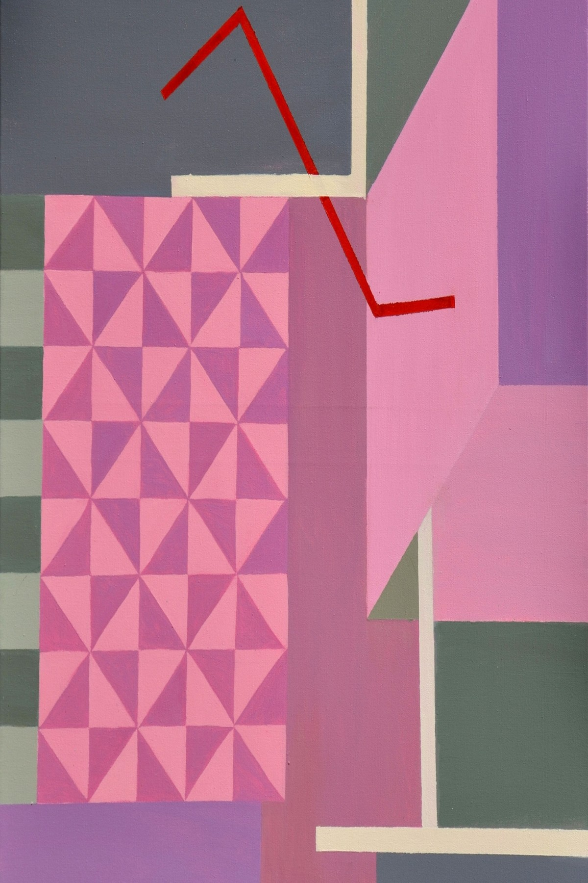 Moods by Shivani Garg , Geometrical Painting, Acrylic on Canvas, Pink color
