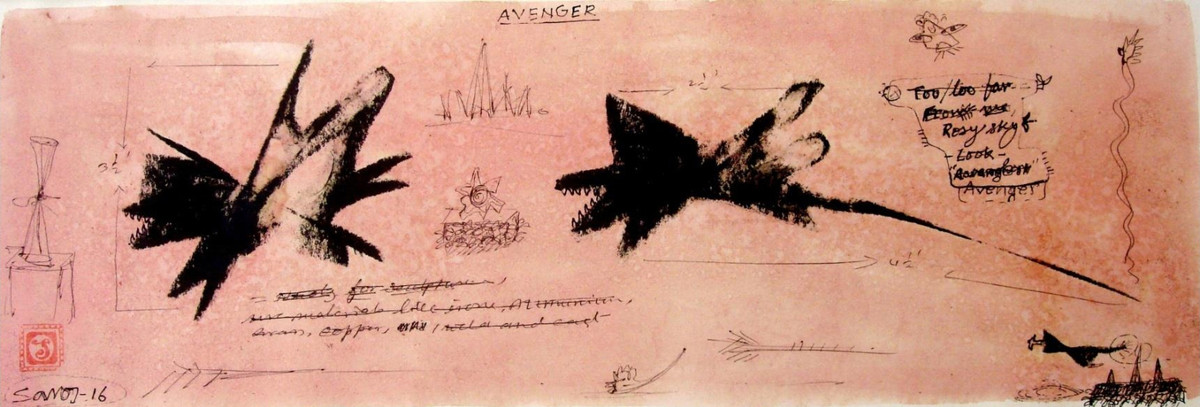 Avenger by Saroj Singh, Impressionism Painting, Mixed Media on Paper, Brown color